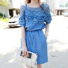 New Fashion Women's Dress Lace Fringed Smock Waist Strap Denim & Lace Dresses