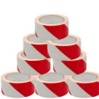 "2"" Wide White and Red Self Adhesive Hazard Warning Safety Tape 33m for marking"