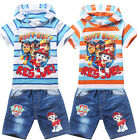 Cool Paw Patrol Kids Boys Girls Striped Hoodies T-Shirt+Jeans Shorts Sets 3-7Yrs