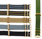 HEAVY NATO Bronze Rose Yellow Gold 3&5 Ring BALLISTIC NYLON Watch Strap / Band
