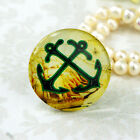25mm 30mm vintage Anchor Yellow Handmade glass Photo cabochon 30M005