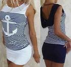 2015 Women Summer Anchor Shape Stripe Slim Cocktail Party Mini Dress Vest Dress