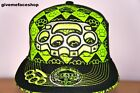 KNUCKLE DUSTER FLAT PEAK CAP, BLING FITTED HAT, HIP HOP BASEBALL BLACK/LIME CAPS