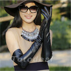 Ultra Long lined BLACK lambskin gloves 50CM elbow length long PU Leather Fashion
