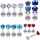 4x Mix 16G CZ Gem Steel Barbell Ear Tragus Cartilage Helix Stud Earring Piercing