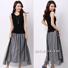Fashion Korean Summer Casual Knit Tops Mesh Evening Cocktail Party Long Dresses