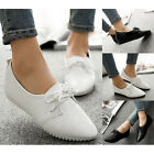 Womens Lace Up Slip On Solid Loafers Casual Pointed Toes Flat Dress Formal Shoes