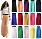 Summer Women's Chiffon Pleated Double Layer Long Maxi Dress Elastic Waist Skirt