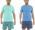 Mens Summer Loungewear Short Pyjamas Set Plain T-Shirt + Check Shorts Blue Turq