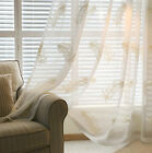 Pair Home Feather Embroideried Ready Made Window Sheer Curtain