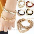 Nice Gift Handmade Gold Chain Braided Rope Multilayer Bracelet Bangle Chain