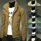 New Mens Slim Fit Casual Jacket Zipper Button Military Jackets Boys Rider Coat