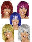 Ladies Metallic Tinsel Cyber Wig Wednesday Red 1970s Clic Sargent Fancy Dress