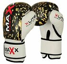 New Leather Boxing Gloves, Integrated Gel Padded Sparring Gloves Black/Gold