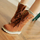 Womens Winter Flat Oxford Lace Up Snow Fashion New Mid Calf Boots Shoes Plus Sz