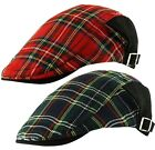 Scottish Tartan Check Cabbie Golf Ivy Newsboy Country Flat Cap Hat - Red / Green