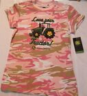 JOHN DEERE Size 10/12 or 14-16 Pink Camouflage Short Sleeve Cotton Shirt NWT