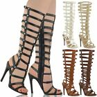 WOMENS LADIES KNEE HIGH GLADIATOR STRAPPY SANDALS HEEL PARTY ROMAN BOOTS SIZE
