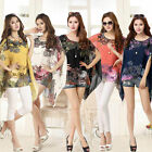 Fashion Women Sexy Batwing Sleeve Loose Chiffon Floral Print T-shirt Blouse Tops