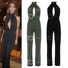 AP25 Womens Celeb Inspired Front Cut Out Halter Neck Slinky Clinging Jumpsuit