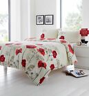 FUSION® FLORAL REVERSIBLE DUVET COVERS QUILT SET COTTON CHARA RED CREAM