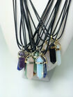 HOT Unique Crystal Point Necklace Leather Chain Chakra Prism Healing Pendant