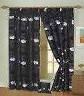 Stunning Ring Top / Eyelet Curtains, Black & Silver Raised Flock. 5 Sizes. NEW!