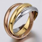 Mens Womens Smooth Multi Color 3 Loops 316L Stainless Steel Ring Party Jewelry