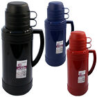 1.8L FLASK CAMPING VACUUM HOT COLD TEA DRINK BOTTLE & CUPS GLASS LINED INSULATED
