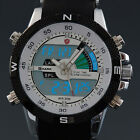 SHARK Mens Digital LCD Army Date Day Quartz Sport Rubber Military Watch+Bookmark