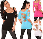 LONG TOP SEXY SHORT SLEEVES BACK OPEN LACE TOP WOMAN T-SHIRT T.34/36/38