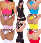 TOP SEXY HALTER TOP TANK TOP SUMMER RINGS FASHION WOMAN T M/L 40 42 UK 12-14
