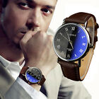 Luxury Mens Business Casual Faux Leather Quartz Analog Wristwatches Blue Ray New