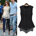 Womens Blouse Summer Fashion Womens Crochet Vest Casual Ladies Lace Top Size