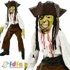HALLOWEEN HORROR CUT THROAT PIRATE - age 7-12 - kids boys fancy dress costume