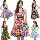 COTTON 50'S 60'S SWING PINUP PARTY HOUSEWIFE VINTAGE STYLE PROM DRESS