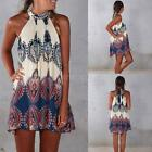 Retro Women Summer Sexy Sleeveless Floral Halter Beach Party Cocktail Mini Dress