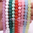 "8mm Round Smooth Jade Gemstone For Jewelry Making Spacer Beads 15"" Pick Color"