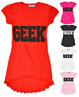 Girls Low High Hem Short Sleeved Printed Geek T Shirt Dress New Years 5-13 Years