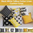 """Art Black and White Yellow Home Decor Cotton CUSHION COVER PILLOW CASE 18"""" image"""
