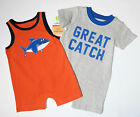 "NWT New Carter's Orange & Gray ""Great Catch"" Romper Outfits NB or 3 mo, Rtls $24"