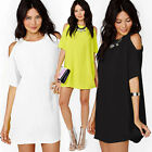 Sexy Womens Summer Bodycon Dress Cut Out Shoulder Short Sleeve Loose Tops S~2XL