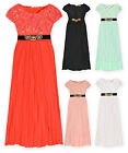 Girls Pleated Maxi Dress Long Chiffon Skirt Detailed Waist Short Sleeved Top New