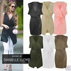 Womens Ladies Celeb Inspire Sleeveless Waterfall Belted Cape Cardigan Jacket Top