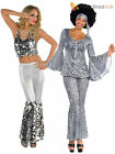 Ladies 1970s Sequinned Disco Dancing Top + Flares Fancy Dress Costume Womens