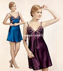 Womens 19 Momme 100% Pure Silk Babydoll Chemise Full Slips Sleepwear AS935