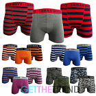 Mens Plain Striped Boxer Trunks Boxer Shorts Cotton Underwear 6 / 12 pairs S-XL