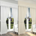 LIMA FULLY LINED CURTAINS - TAPE TOP WINDOW DRAPES - WHITE & CHAMPAGNE COLOURS