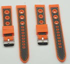 Silicone rubber mens orange watch strap CARBON FIBRE EFFECT divers waterproof 1