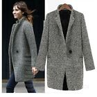 Princess Women Mac Black and White Long Trench Coat Ladies Winter Jacket Size